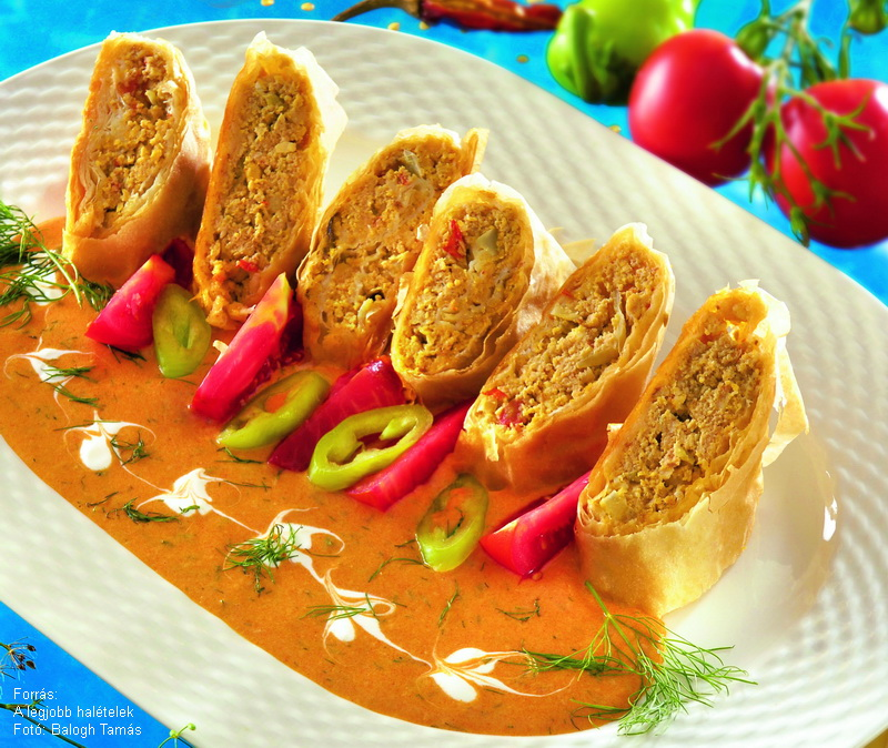 Halas rétes kapros-paprikás mártással (sós)