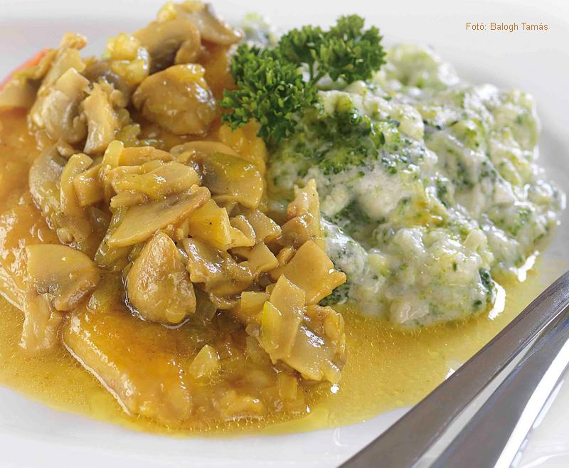 Párolt tengeri halfilé currys gombával és tejszínes brokkolival