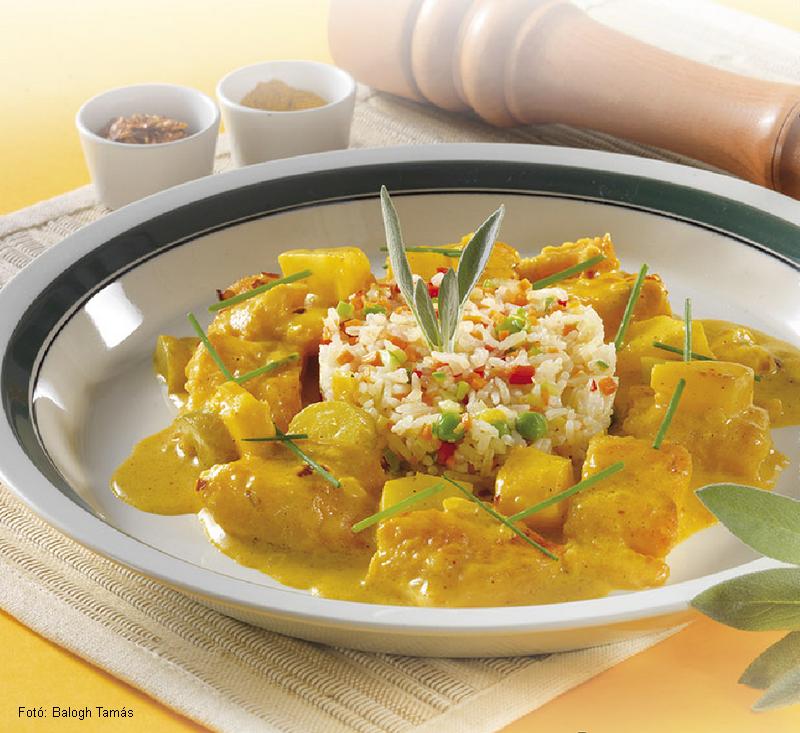 Currys pangasiusragu zöldséges rizzsel  -  készítette Nemeskövi Dénes mesterszakács