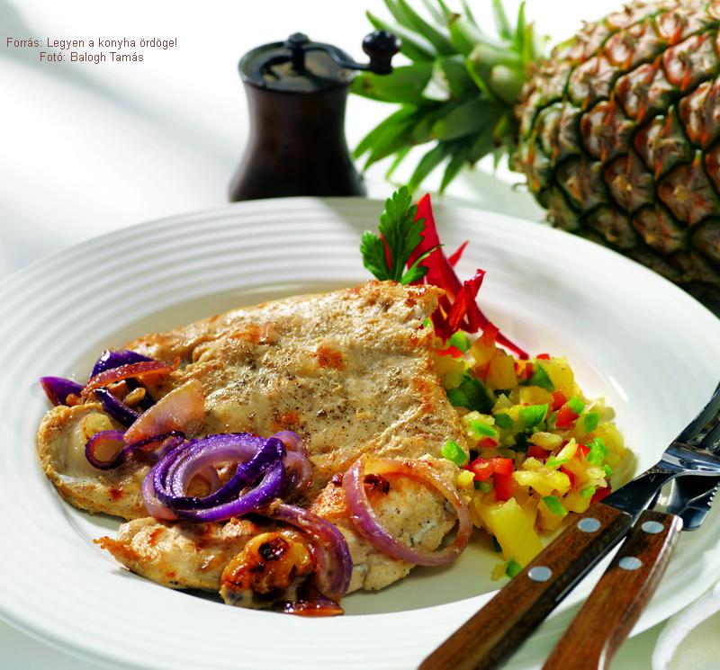 Grillezett csirkemell fűszeres ananásszal