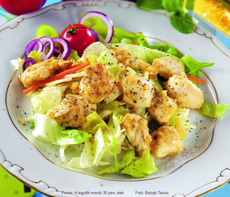 Mustáros mézes csirke zöldsalátával