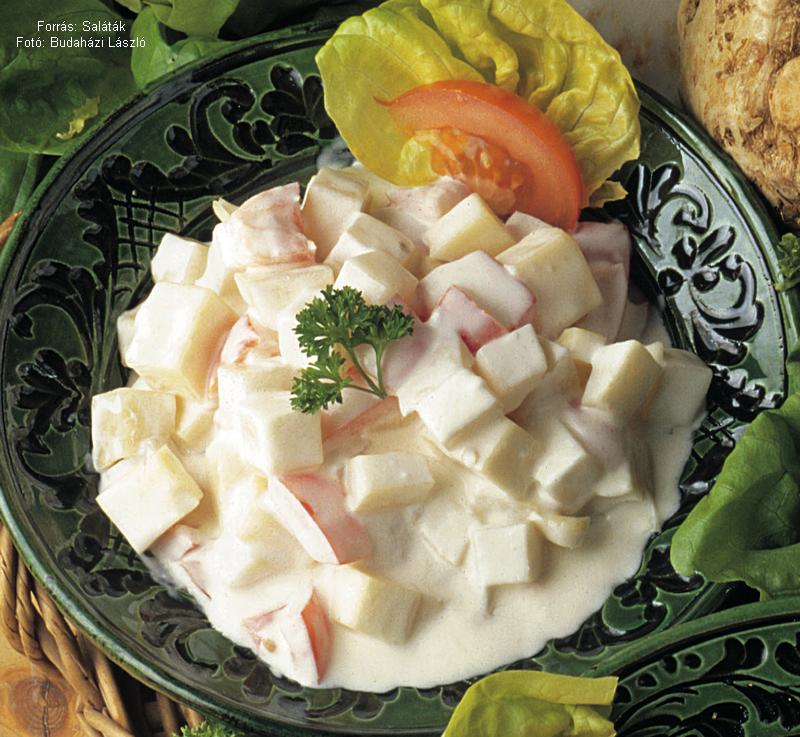 Joghurtos, paradicsomos, sajtos zellersaláta
