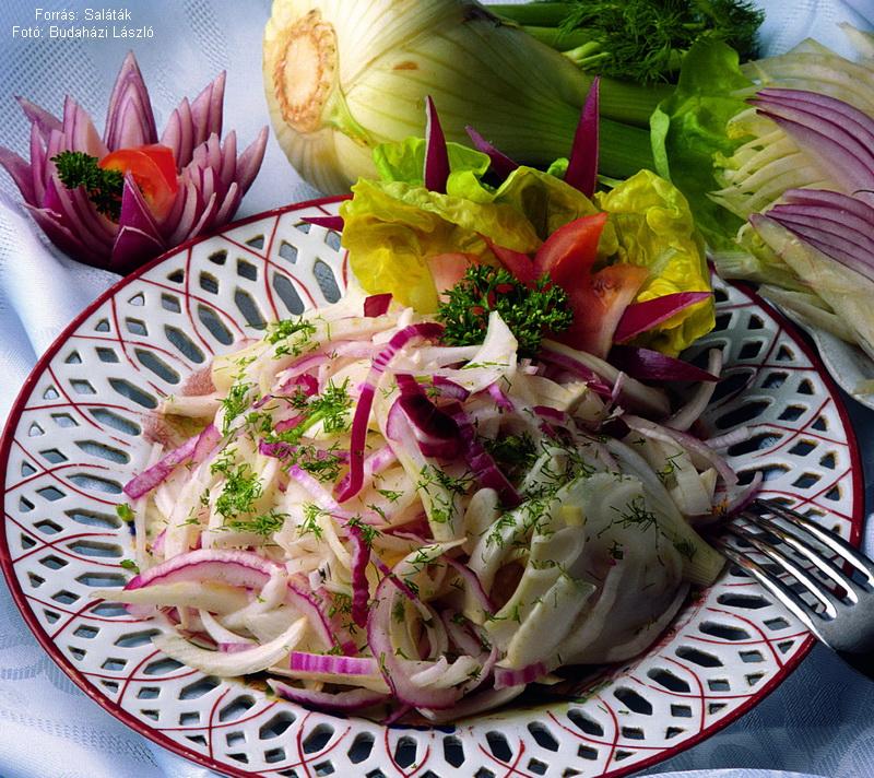 Lilahagymás édeskömény saláta