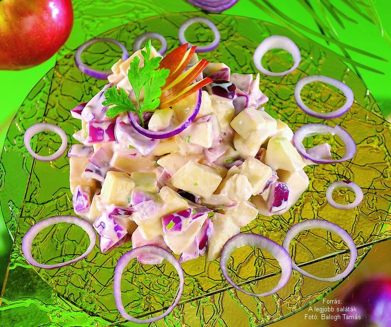 Almás, sajtos hagymasaláta