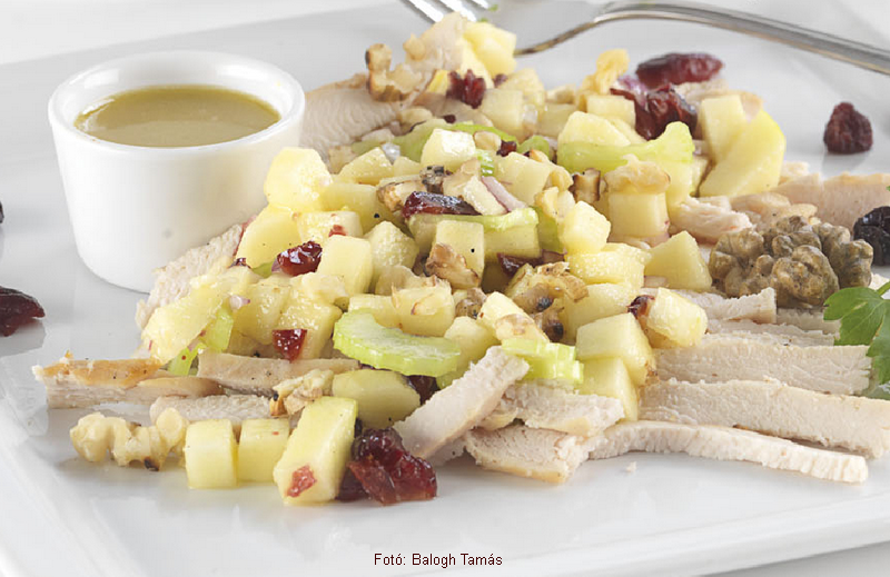 Csirkés Waldorf saláta lenmagolajos öntettel  -  Martha Stewart receptje