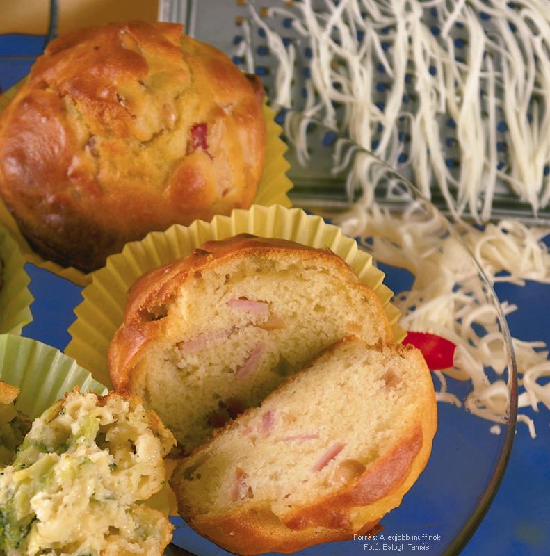 Diós, sonkás muffin