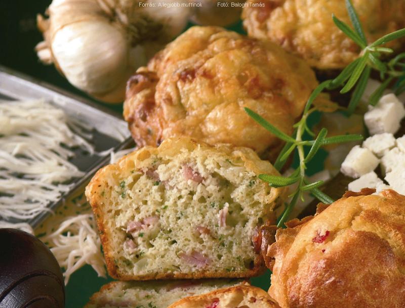 Fokhagymás sonkás muffin
