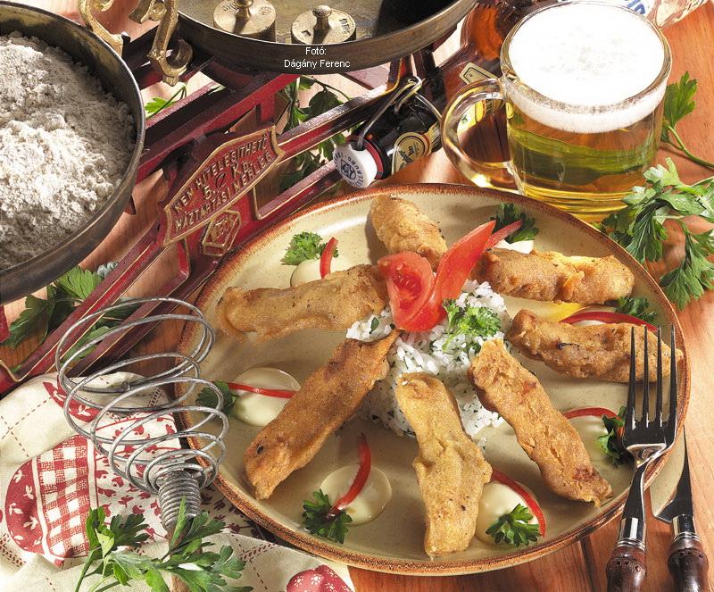 Húscsíkok sörtésztában sütve (húscsíkok orlyi módra)