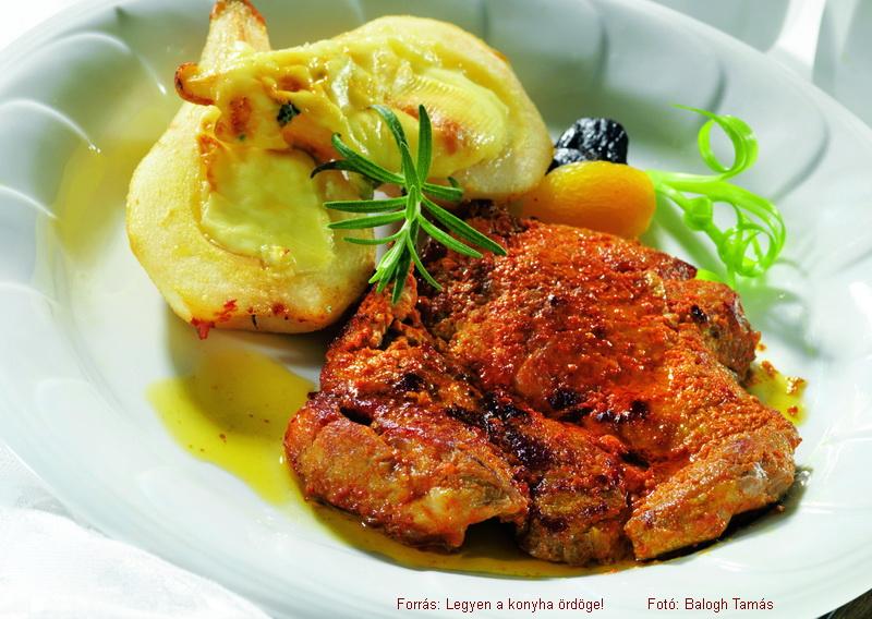 Piglet Chuck Steak with Mustard and Baked Roquefort Pears - (Mustáros malactarja rokfortos sült körtével)