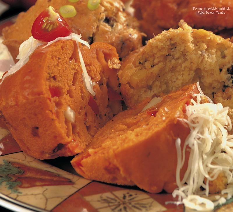 Paradicsomos, mozzarellás muffin