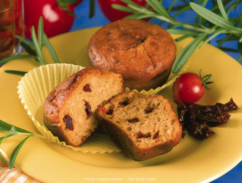 Rozmaringos, duplán paradicsomos muffin