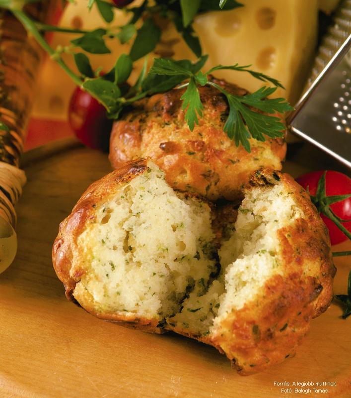 Sajtos, újhagymás, tarjás muffin