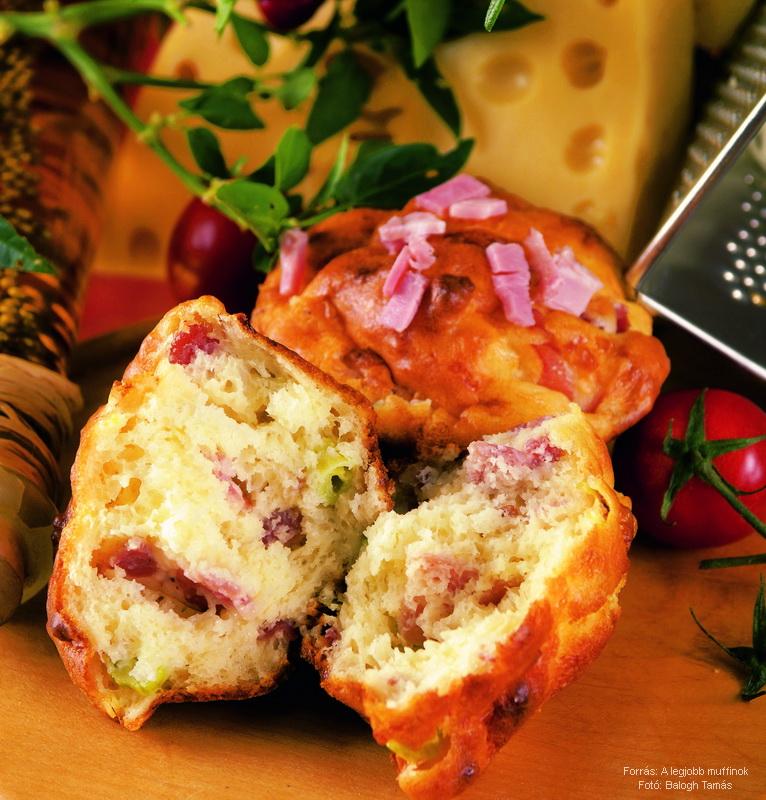 Sajtos, szalonnás muffin