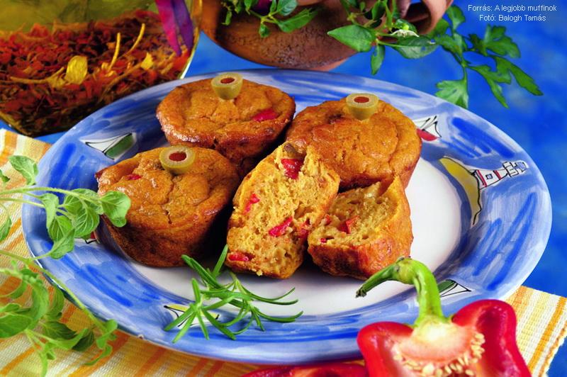 Tonhalas, paprikás muffin