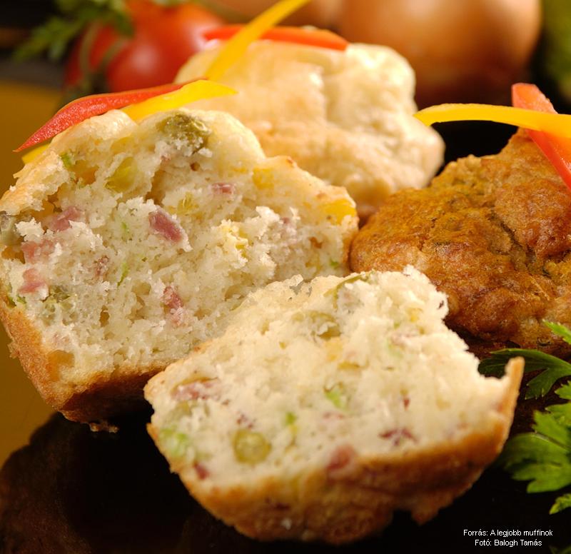 Zöldséges, sonkás, sajtos muffin