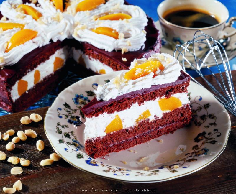 Barackos, csokoládés torta