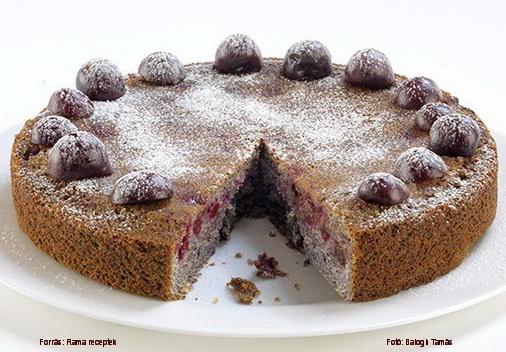 Mákos, meggyes torta