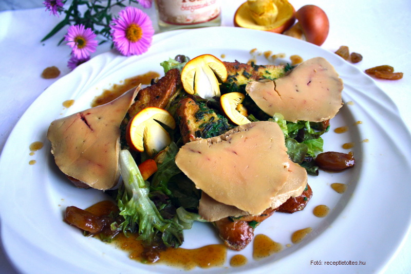 Libamáj carpaccio, mézes-mazsolás császárgalóca salátával  -  készítette Csigó János mesterszakács