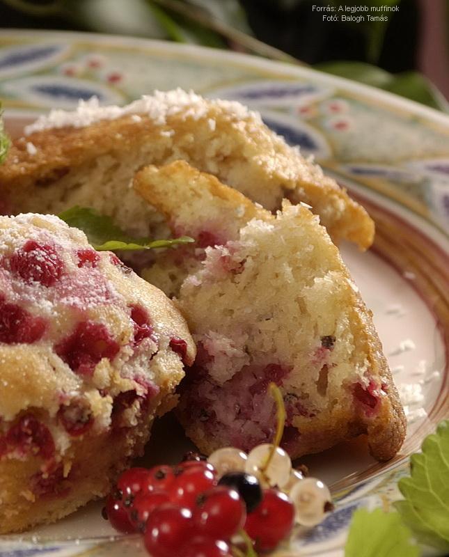 Ribiszkés, kókuszos muffin