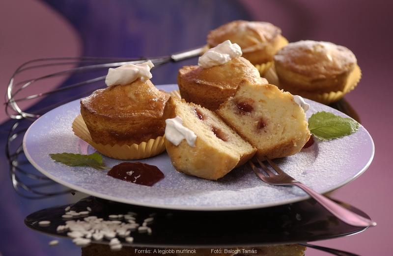 Rizses, lekvárral töltött muffin
