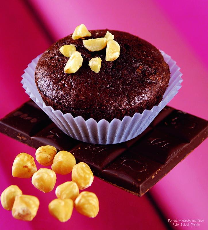 Csokoládés (kakaós), mogyorós muffin liszt nélkül