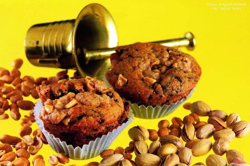 Csokoládés, mogyorós muffin