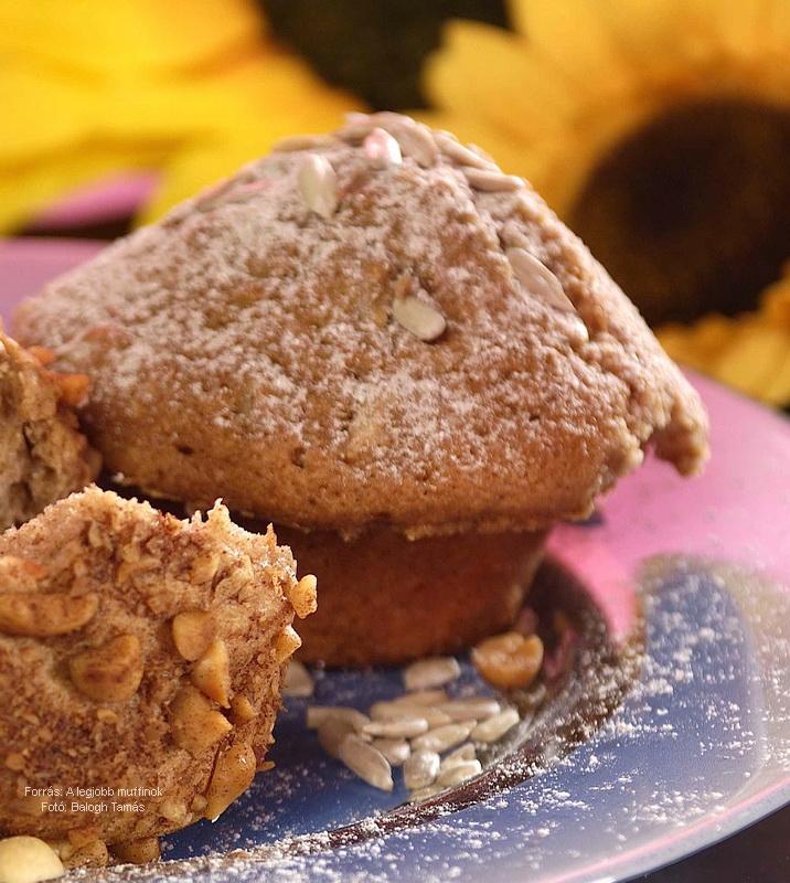 Fahéjas napraforgómagos muffin