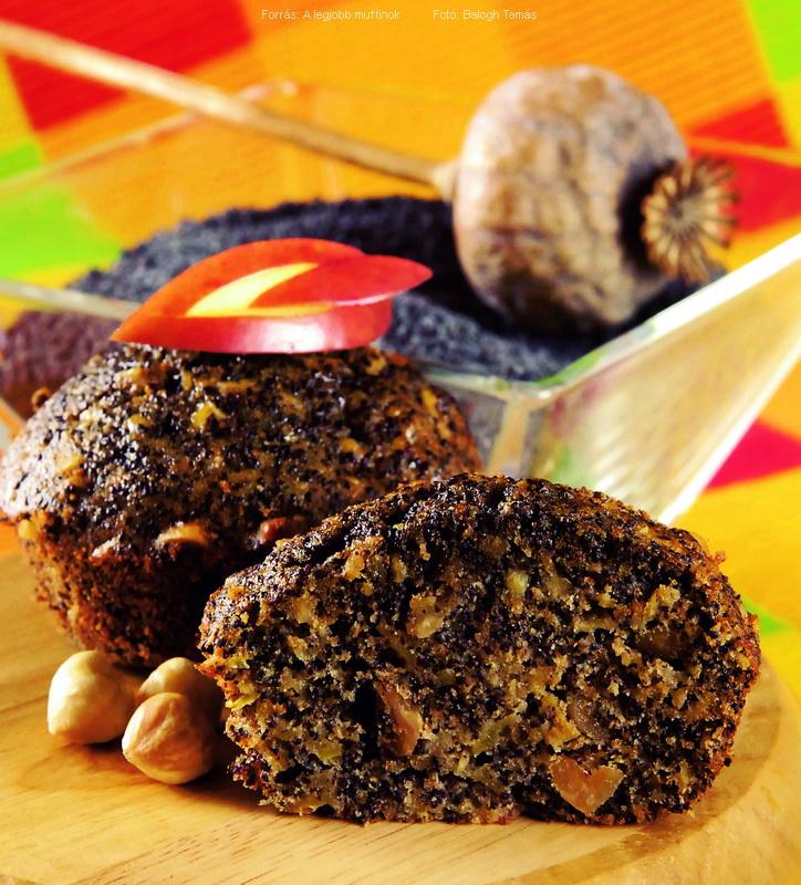 Mákos, almás, mogyorós muffin