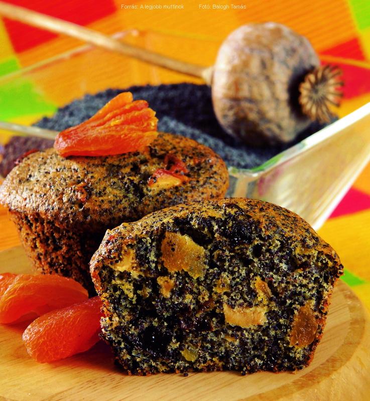 Mákos, aszalt gyümölcsös muffin