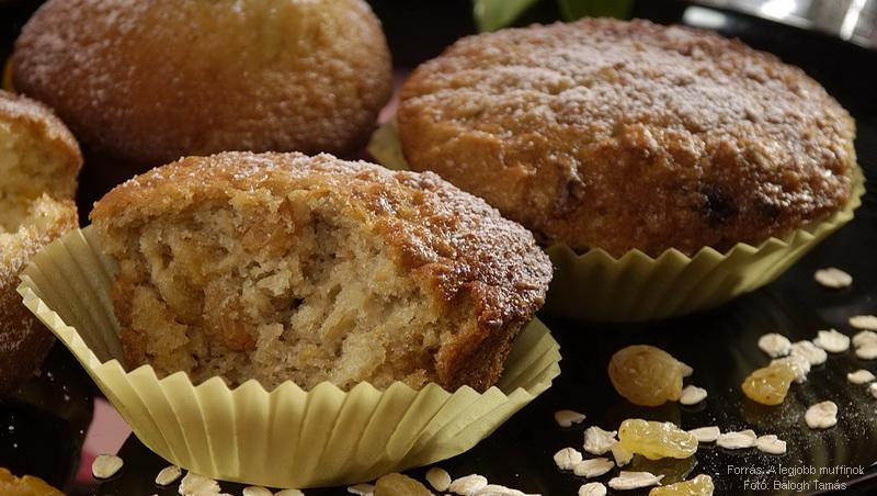 Mazsolás, zabpelyhes muffin