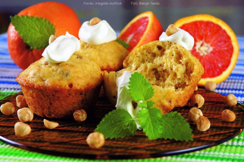 Narancsos, mogyorós muffin