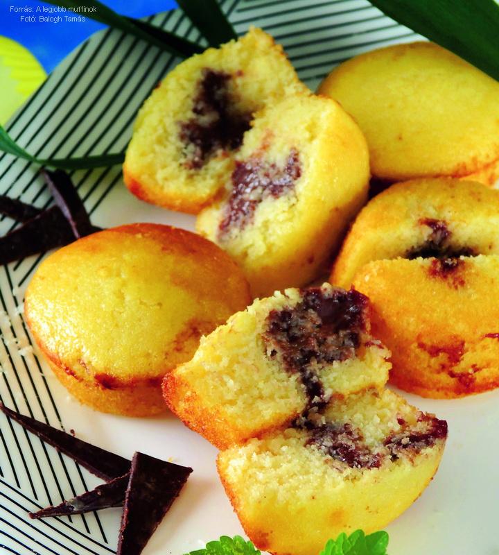 Kókuszos, csokipudinggal töltött muffin