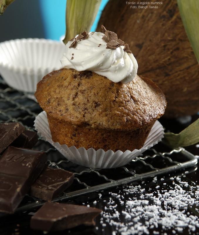 Kókuszos, csokis muffin