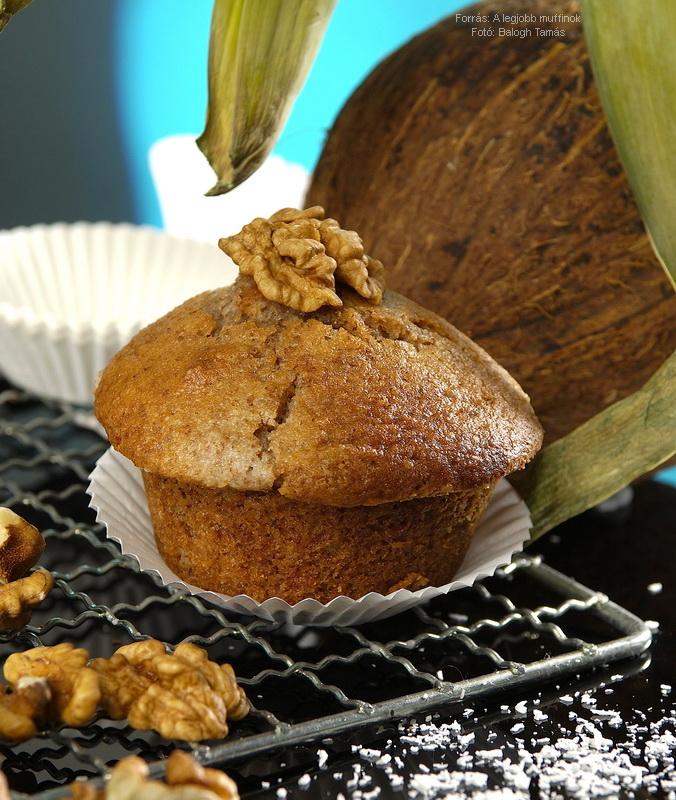 Kókuszos, diós muffin