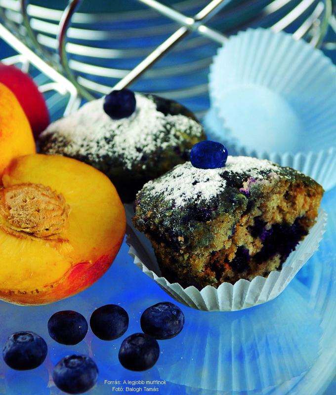 Áfonyás, barackos muffin