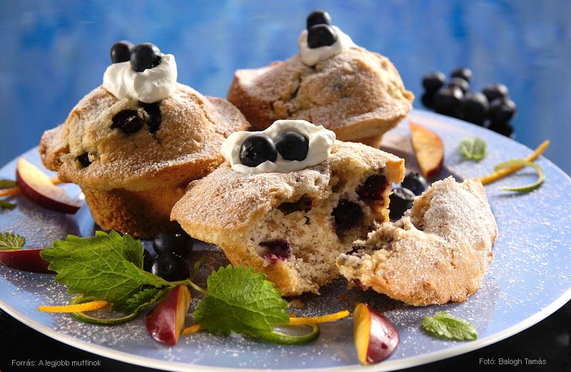 Áfonyás, diós és áfonyás, tejfölös muffin