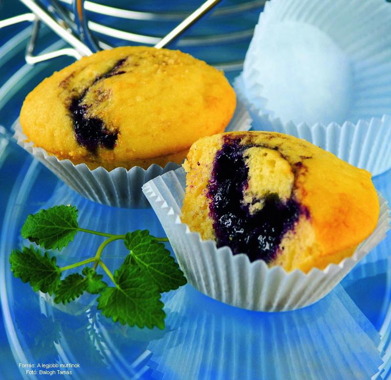 Áfonyalekváros muffin