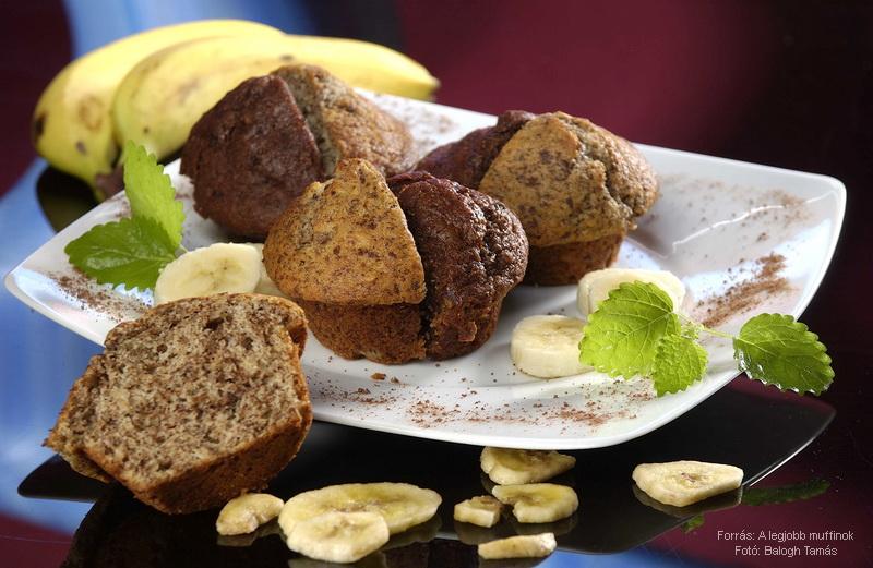 Banános, csokoládés muffin kétféleképpen