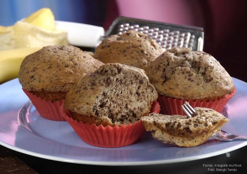 Banános, csokoládés muffin (tojás nélkül)