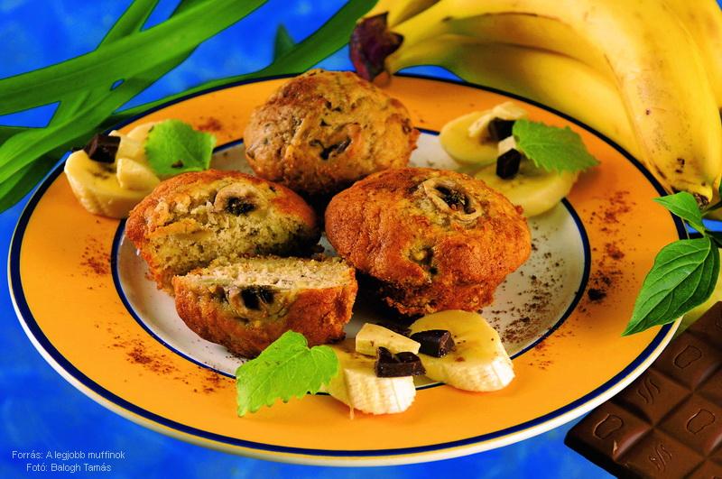 Banános, fahéjas, csokoládés muffin