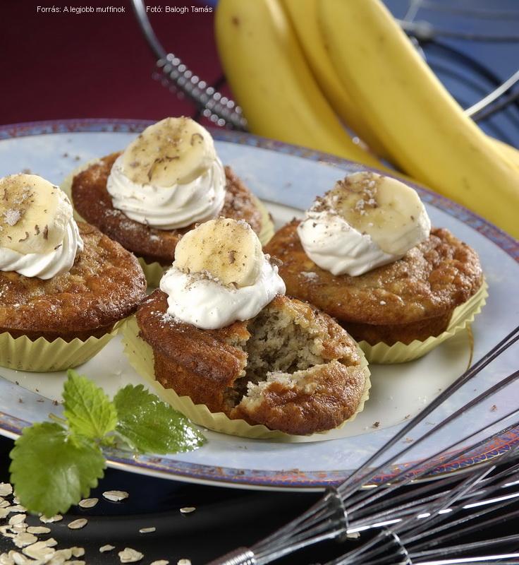 Banános, zabpelyhes muffin