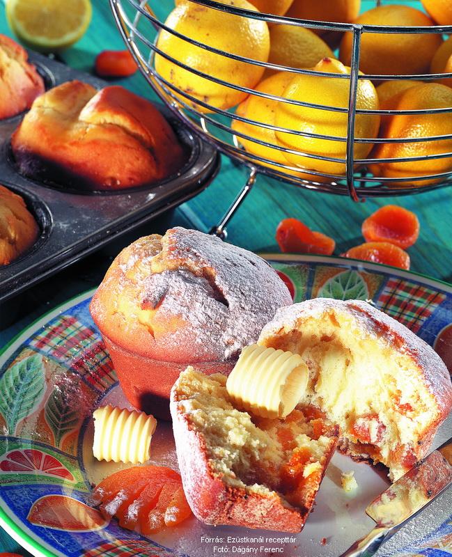 Citromos, aszalt barackos muffin