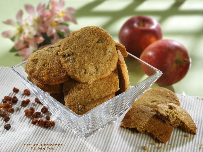 Mazsolás, almás keksz