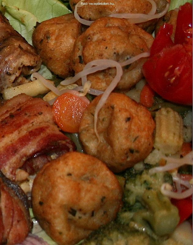 Harcsagombóc boros zöldségekkel