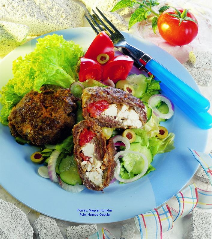 Görögös húspogácsák zöldsalátával