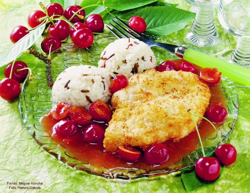 Kókuszbundás csirkemell cseresznyemártással