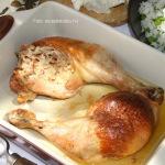 Szalonnás, sonkás juhtúróval töltött csirkecomb