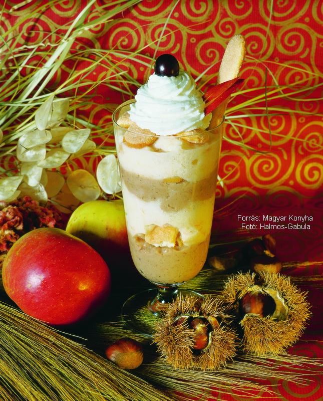 Almás, gesztenyés pohárkrém (boszorkakrém)