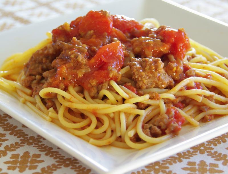 Duplán paradicsomos húsos spagetti