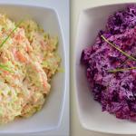 Cole slaw – ejtsd kolszló – saláta és lila cole slaw saláta – készült az OnLive© főzőiskola 13. adásában